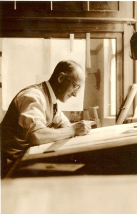 Staff member in the architecture office of F. Kenneth Milne, c1920s, Milne collection S4, image courtesy Architecture Museum, University of South Australia
